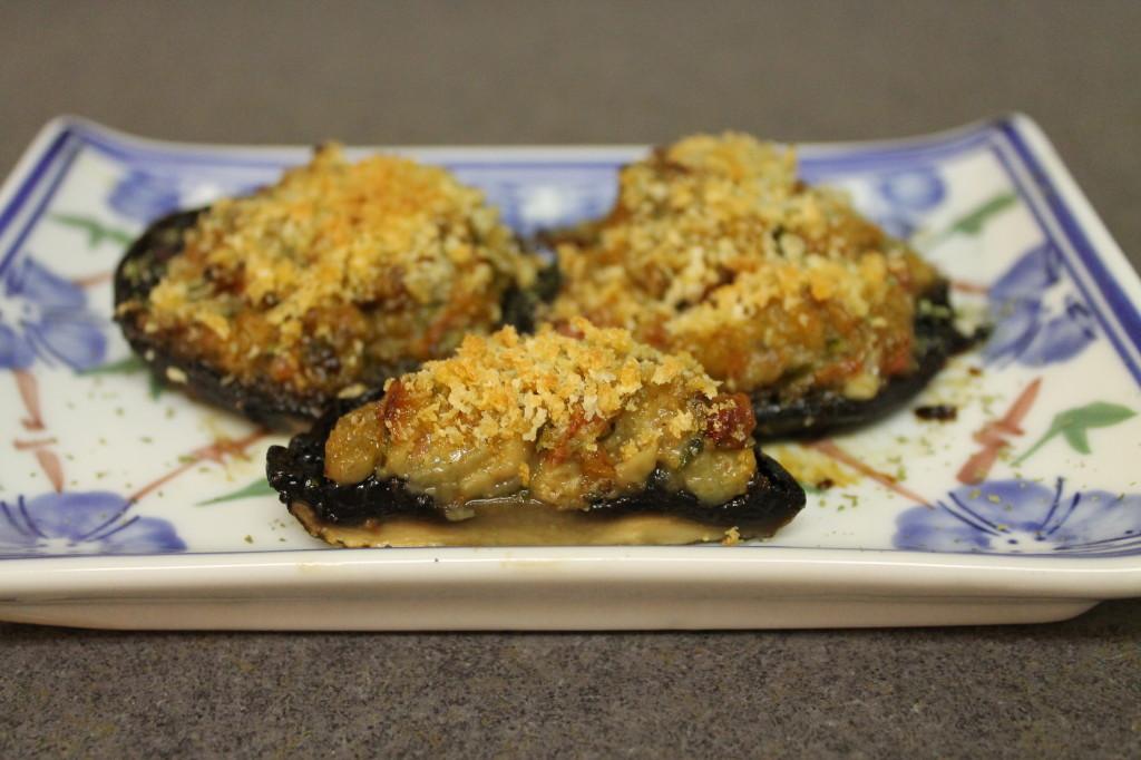 Eggplant and gorgonzola stuffed portobellos