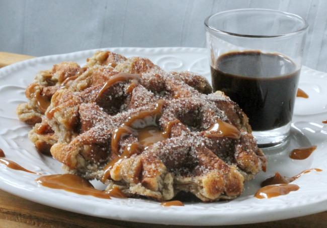 waffled churros with chocolate sauce