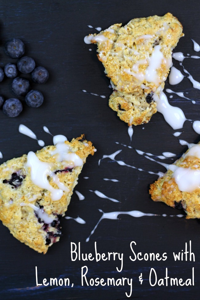 blueberry scones with lemon, rosemary and oatmeal