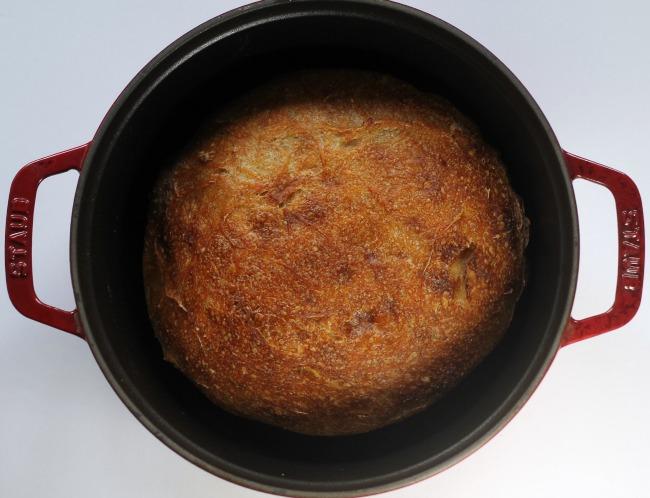 Sourdough bread in a dutch oven