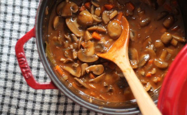 Veganizing Julia Child: Mushroom Bourguignon