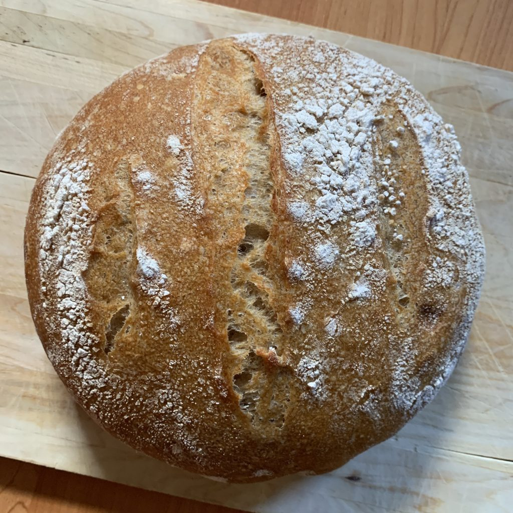 a round loaf of sourdough bread