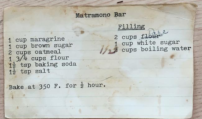 Mom's date squares recipe card