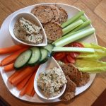 a plate of Crudités with vegan pate
